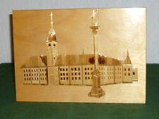 Einlegearbeit Holztafel Holzplatte Intarsien Holz Platte Wandtafel Gebäude plate