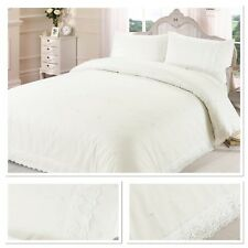 Rapport Victoria Floral Lace Trim Embroidered Duvet Cover Bedding Set Cream