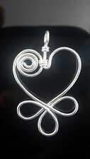 925 Sterling Silver Celebrity Inspired Heart Flower Wire Pendant Charm Best Gift