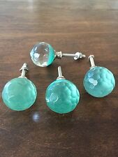 AQUA Round Faceted Glass DRAWER PULL Handle Home Decor Dresser Turquoise KNOB