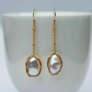 Nice Baroque 8-9x11-12mm pearl Natural White Tassel earrings 42mm 14KGF E328