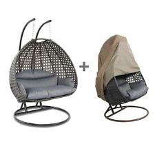 Island Gale 2Person Rattan Outdoor Wicker Hanging Swing Chair w/Free Cover&Stand