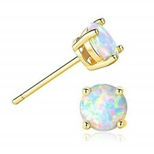 Women Classic 925 Sterling Silver Gold Round Cut Fire Opal Stud Earrings Opals