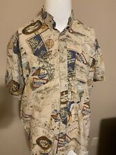 VTG Tommy Hilfiger Hotel Cities All Over Print Short Sleeve Button Down Shirt M
