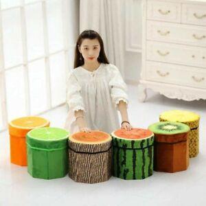 3D Velvet Folding Storage Ottoman, Creative Fruit Foot Rest Stools Storage Chest