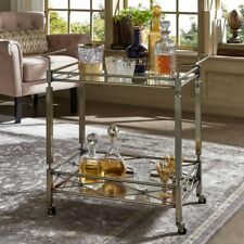 Luxurious Anitque Brass Bar Cart w/ Tempered Glass Shelf and Stylish Railings