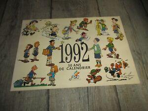 Calendrier scout-50 ans de calendrier, dessinés par Hergé,Franquin,Morris...1992