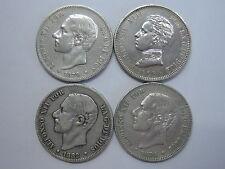 1879 1881 1882 1905 LOTE 4 MONEDAS 2 PESETAS ALFONSO XII - XIII SPAIN SPANISH