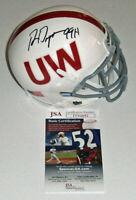 WISCONSIN Ron Dayne signed throwback mini helmet w/99H JSA COA AUTO Autograph UW