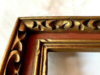 "Vintage Fits 8"" x 10"" Gold Wood Country Primitive Folk Art Carved Picture Frame"