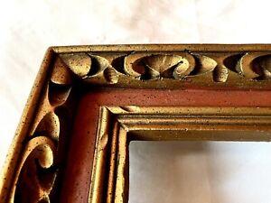 """Vintage Fits 8"""" x 10"""" Gold Gilt Carved Country Folk Art Primitive Picture Frame"""