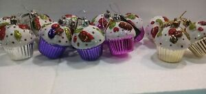 12 Christmas CupCake Tree Decorations. Baubles Assorted With Hang Loop 6cm high