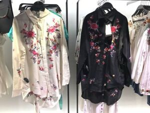 BNWT ZARA Silk Cotton Floral Embroidery Shirt Top Blouse Size S M L