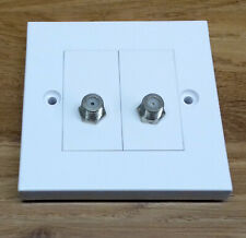 Kauden Twin Satellite F Type Socket Modules in Faceplate TV Outlet Wall Plate