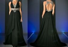 NWT Black Embellished Open Back Prom Evening Pageant Cruise Dress Gown Size 8
