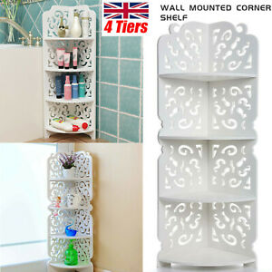 Bathroom Corner 4Tier Shelf Display Stand Dampproof Wall Mounted Unit Decoration