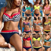 Womens Padded Push-up Top Bikini Set Swimwear Underwire Swimsuit Bathing Suit AM