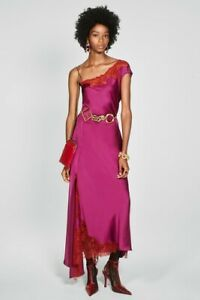 Zara Fuchsia Pink Satin Feel Limited Edition Long Dress With Lace size XS