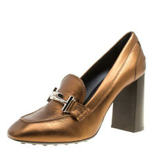 TOD'S LADIES SHOES BRONZE BLOCK HIGH HEEL PUMP SIZE 37 LEATHER NEW UNBOXED