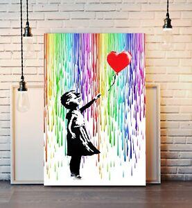 BALLOON GIRL RAIN CANVAS WALL ART PRINT ARTWORK FRAMED POSTER NOT BANKSY