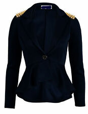Ladies Womens Peplum Frill Front Zip Slim Fit Blazer Jacket Coat 8-24 Plus Size