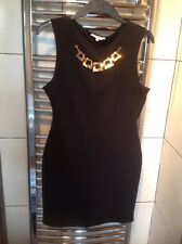 ladies New Look black dress with gold chain size 12-14