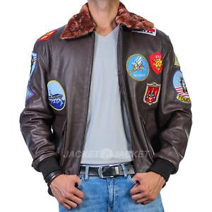 Top Gun Navy Air Force Flight Aviator Bomber Brown Cowhide Leather Jacket