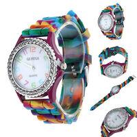 Damen Mehrfarbige Genf Silikon Kristall Strass-stein Analog Quarz Armbanduhr