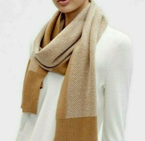 NIP $218 Eileen Fisher CLAY Cashmere Diagonal Stripe Scarf  75x13