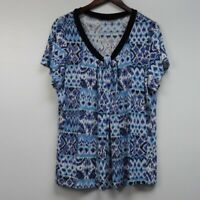 Citiknits Women's Blouse Top Shirt Size 1X Blue Abstract Pattern Short Sleeves