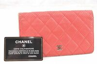 Auth CHANEL Punching Leather Matelasse Long Bifold Wallet CC Logo Red 57728