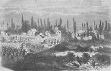 ITALY. Sardinian troops attacking Vinzaglio, antique print, 1859