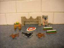 LOT BREYER STABLEMATE JUMP PLAYSET STONE WALL ENGLISH SADDLES TROPHY POND APPLE