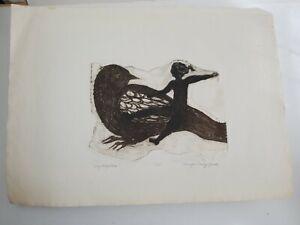 "Vintage Rinagai Stanley Jawer Original Artist's Proof Print ""Fly Away Home"""