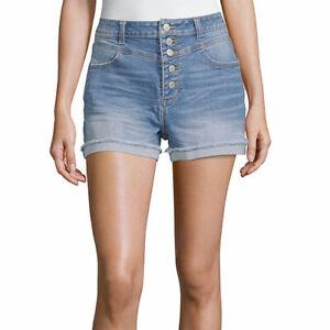Vanilla Star Women's Juniors Denim Hi-Rise Shorts Size 5 Medium Wash 5 Button