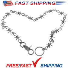 "26""Silver Chrome Barb Wire Biker Trucker Jeans Wallet Thick Heavy Chain US Stock"