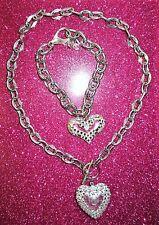 Tarina Tarantino Bubble Heart Clear Swarovski crystals choker with free bracelet