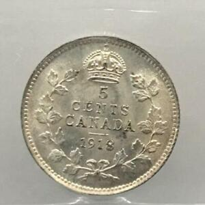 """1918 Canadian 5 cents Graded ICCS MS-63 """"Blast White"""""""