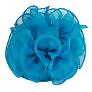 Large Puffy Ruffled Chiffon Fabric Claw Jaw Clip Hair Bows - 30+ Colors -  H719