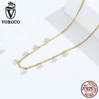 Voroco 925 Sterling Silver Necklace Pendant Reminisce Charm CZ For Women Jewelry