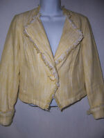 Cabi Jacket/Blazer Daisy Banana Yellow Spring 2011' Size Small Fringe bottom