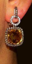 18K WHITE GOLD WHITE & BROWN DIAMOND & CITRINE EARRINGS