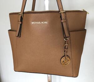 268 Michael Kors Jet Set LG Acorn Saffiano Luggage Leather Tote Shopper Bag MINT