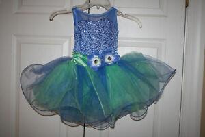 Girl Weissman 10306 Cinderella Blue Green Ballet Tap Jazz Dance Costume Size XSC