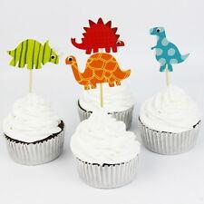 24pcs Dinosaur Cake Cupcake Topper kids birthday Theme party Decoration Standup