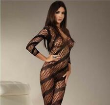 Free Size Ladies Nylon  Fishnet Stripe Body Stocking Nets lingerie Sex Jumpsuit