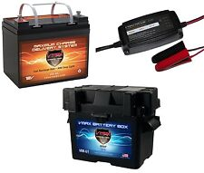 VMAX857 12V 35Ah SLA AGM Deep Cycle U1 Battery + U1 Battery Box + 3.3A CHARGER