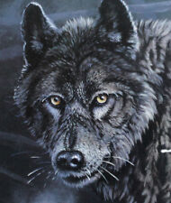 Rare Black Wolf Eyes of the North Wildlife Print Lover Gift Chalet Cottage Art