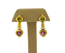 18K Yellow Gold Pink Heart & Green Tourmaline and Diamond Drop Earrings