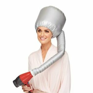 Hair Drying Styling Soft Cap Bonnet Hood Hat Blow Hair Dryer Attachment - Silver